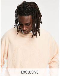 Reclaimed (vintage) Inspired - Sweat-shirt décontracté avec logo cousu ton sur ton - Pêche - Rose