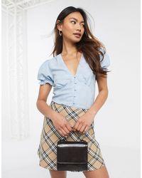 Miss Selfridge Top With Puff Sleeves - Blue