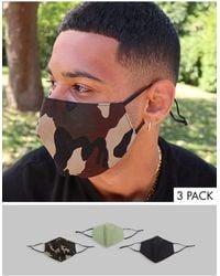 ASOS Confezione da 3 mascherine con fascette e nasello regolabili con stampa mimetica - Nero