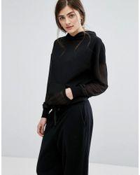New Look - Chiffon Sleeve Sweatshirt - Lyst