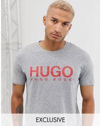 HUGO Серая Футболка С Логотипом Dolive-серый
