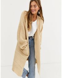 Lost Ink Oversized Heavyweight Knit Cardigan - Natural