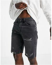 Only & Sons Shorts vaqueros desgarrados con lavado negro y bajos sin rematar