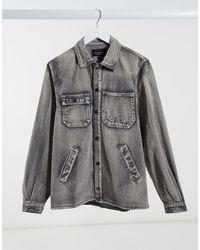 Liquor N Poker Camicia di jeans con effetto spazzolato lavaggio grigio