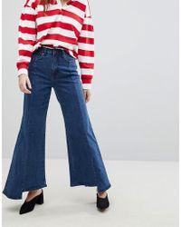 EVIDNT Uneven Hem Wide Leg Jean - Blue