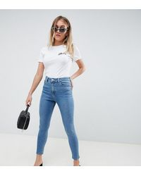 ASOS Asos Design Petite Ridley High Waisted Skinny Jeans - Blue