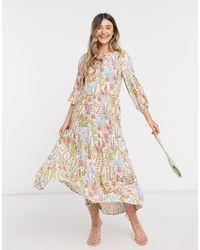 Y.A.S - Ярусное Кремовое Платье Макси С Цветочным Принтом -мульти - Lyst