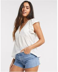 Y.A.S V-neck Smock Top With Lace Detail - Multicolour