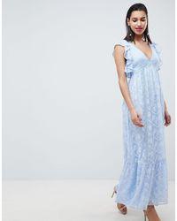 Forever New Платье Макси С Вышивкой И Оборками -синий