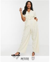 TOPSHOP Petite Belted Jumpsuit - Multicolour