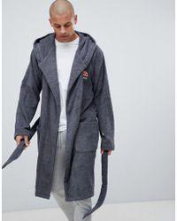 Ellesse Robe de chambre décontractée avec logo brodé - Gris