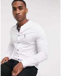 Religion Grandad Collar Jersey Shirt - White