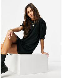 NA-KD Puff Sleeve T-shirt Dress - Black
