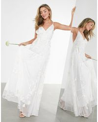 ASOS Свадебное Платье На Бретелях С Вышивкой Isla-белый