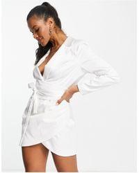 Lavish Alice Belted Mini Wrap Detail Blazer Dress - White