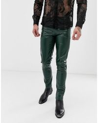 ASOS Skinny Coated Leather Look Jeans In Green
