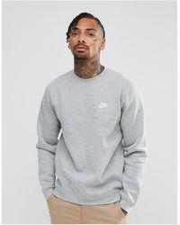 Nike - Серый Свитшот С Круглым Вырезом Club - Lyst