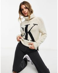 Calvin Klein Мягкий Трикотажный Джемпер Кремового Цвета С Отворачивающимся Воротом И Логотипом Спереди -кремовый - Естественный