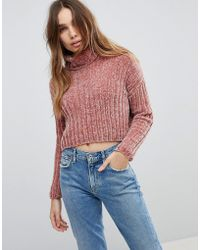 Urban Bliss - Chenille High Neck Cropped Knitwear - Lyst