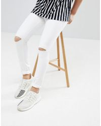 Mennace - Super Skinny Jeans In White With Knee Rips - Lyst