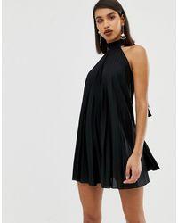 ASOS - Backless Halter Pleated Mini Dress - Lyst
