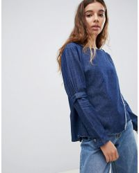 WÅVEN - Leija Wrap Front Denim Top - Lyst