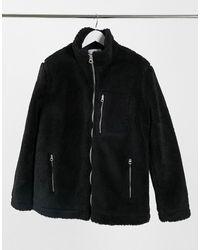 TOPMAN Borg Jacket - Black