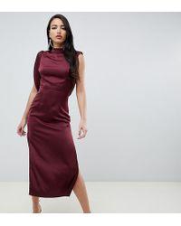 ASOS - Asos Design Tall Satin Midi Dress With Drape Armhole And Side Split - Lyst