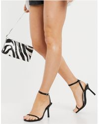 Schuh Shea Strappy Heeled Sqaure Toe Heeled Sandals With Contrast Stitch - Black