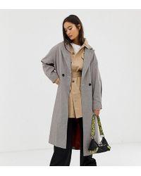 Collusion Trench-coat à carreaux - Gris