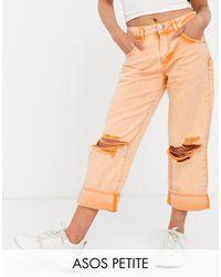 ASOS Asos Design Petite Low Slung Carpenter Jeans With Extreme Rips - Orange