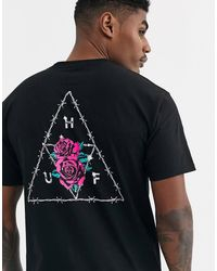 Huf - Dystopia Triple Triangle T-shirt With Floral Back Print In Black - Lyst