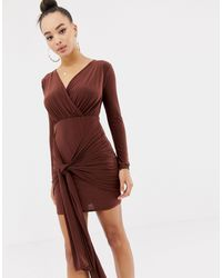 Missguided Gedrapeerde Mini-jurk Met Strikband - Bruin