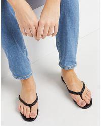New Look - Черные Сандалии На Плоской Подошве С Плетеными Ремешками -черный Цвет - Lyst
