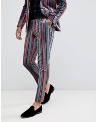 ASOS - Skinny Suit Trousers In Blue And Burgundy Velvet Stripe - Lyst