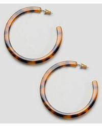 Reclaimed (vintage) Inspired Tort Hoop Earring-brown - Metallic