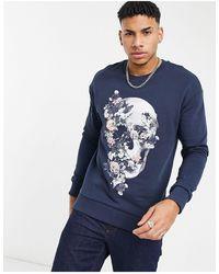 Jack & Jones Premium - Sweat-shirt à imprimé tête - Bleu