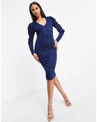 AX Paris Plunge Pencil Dress - Blue