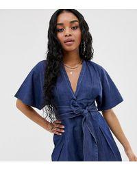 Boohoo Exclusive Denim Playsuit With Tie Waist In Blue