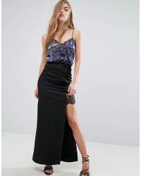 Miss Selfridge Satin Lace Split Hem Maxi Skirt - Black