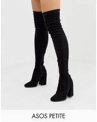 ASOS Asos Design Petite - Korey - Dijhoge Laarzen Met Hak - Zwart