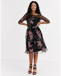 Chi Chi London Mesh Embroidered Midi Dress - Black