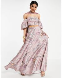 ASOS Lehenga Full Maxi Skirt - Pink
