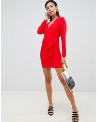 ASOS - Origami Wrap Front Mini Dress With Long Sleeves - Lyst