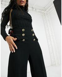 River Island High Waisted Button Front Wide Leg Trouser - Black