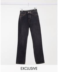 Collusion X000 - Jeans unisex dritti anni '90 nero slavato