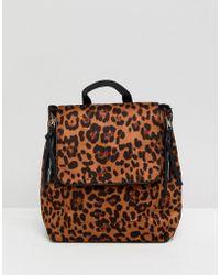 Stradivarius Formal Leopard Backpack - Brown
