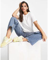 Miss Selfridge T-shirt à manches retroussées en coton biologique - Blanc