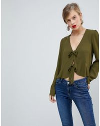 ASOS - Design Ruffle Top With Tie Front - Lyst