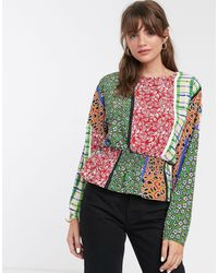 Glamorous Blouse à taille froncée et motif patchwork style rétro - Multicolore